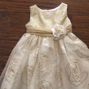 3T Ivory with Gold trim Dress